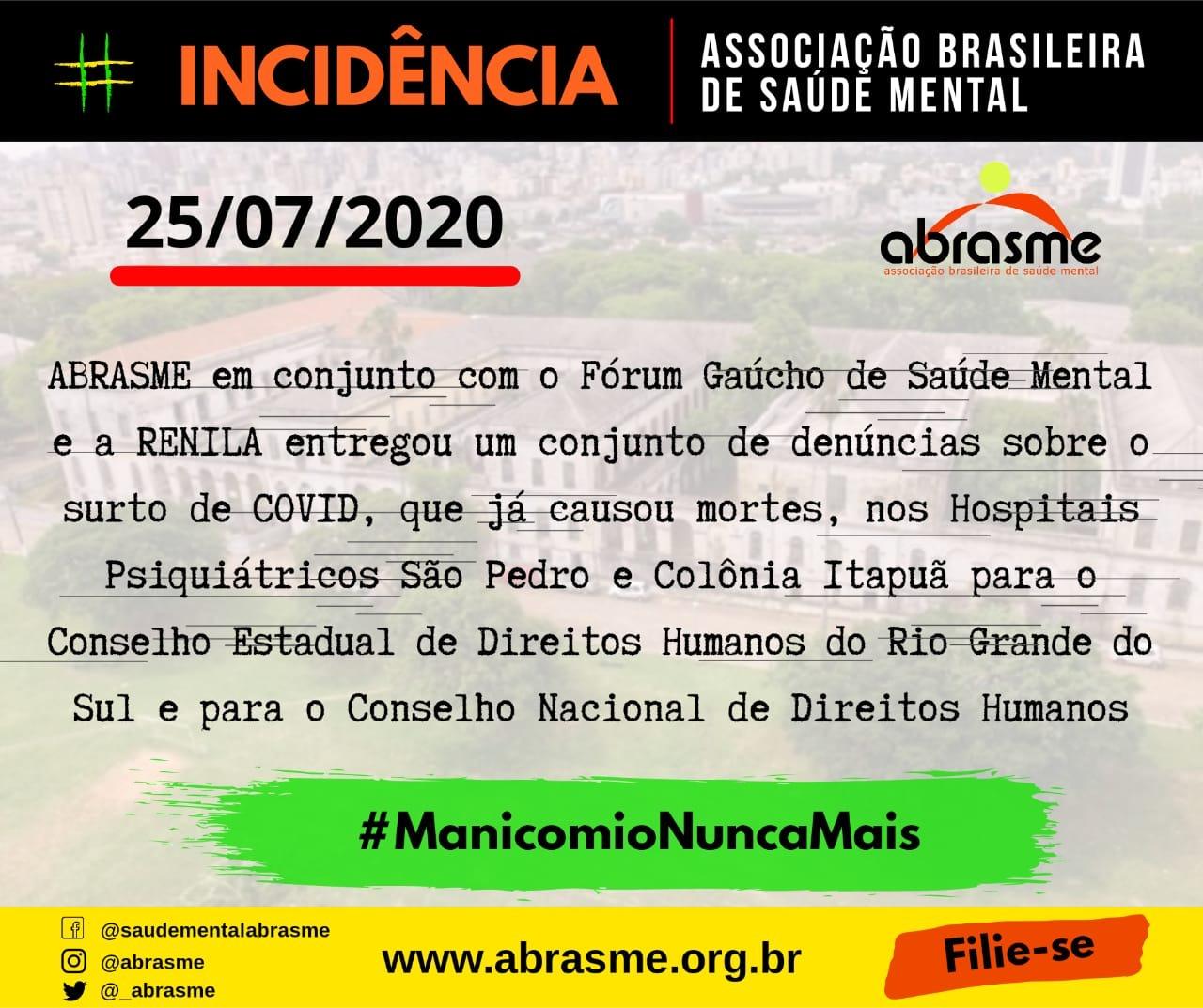 ABRASME encaminha Carta Denuncia sobre surto de COVID em Hospitais Psiquiátricos do RS