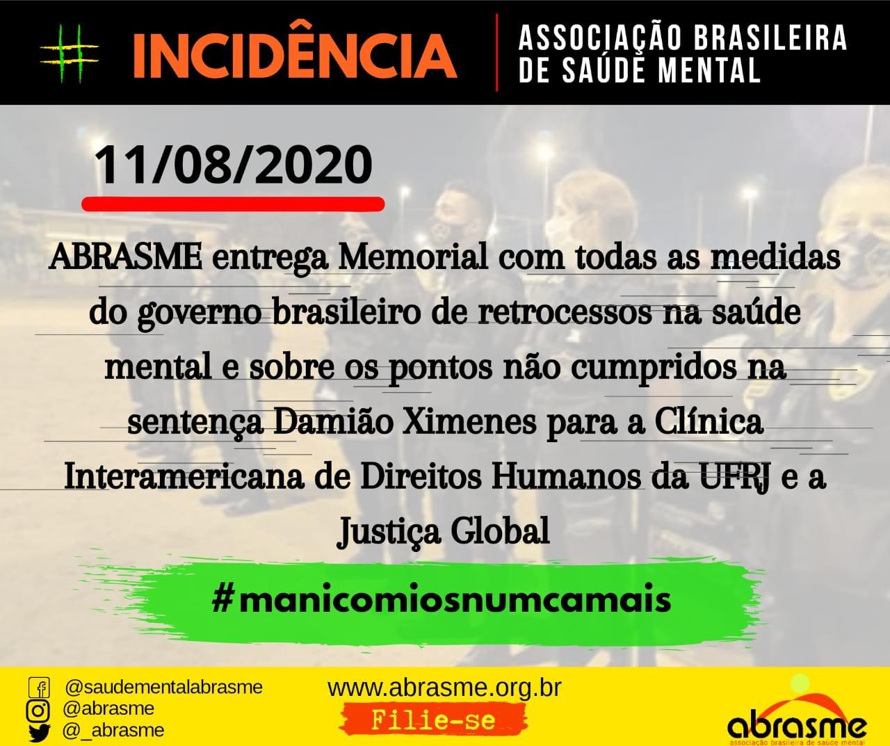 ABRASME entrega Memorial sobre retrocessos do governo brasileiro na pauta de Saúde Mental e Drogas