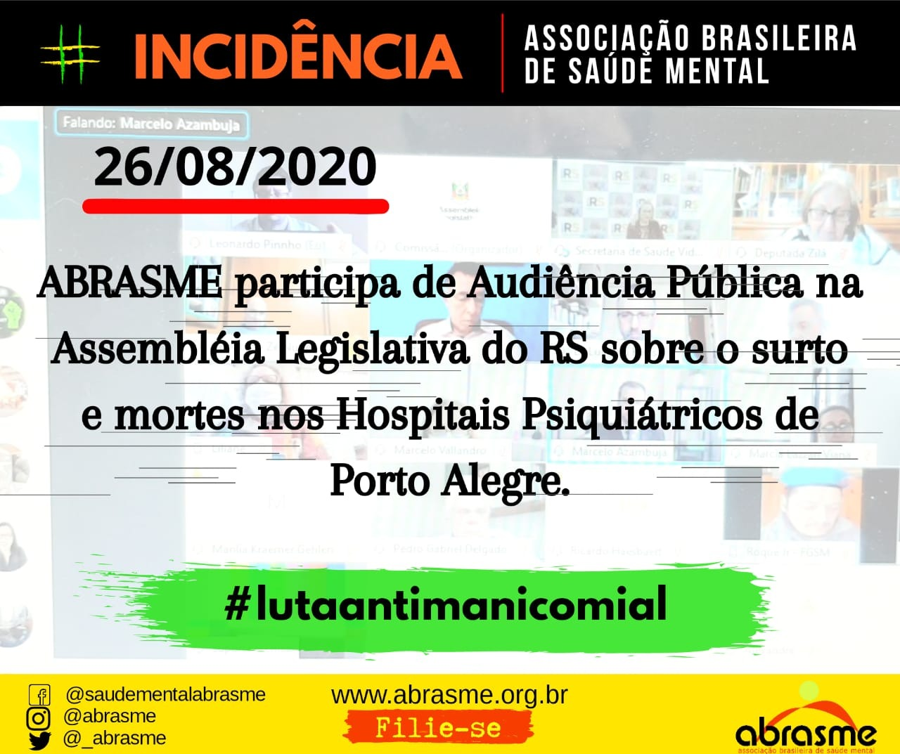 ABRASME participou de Audiência Pública sobre mortes nos Hospitais Psiquiátricos no RS