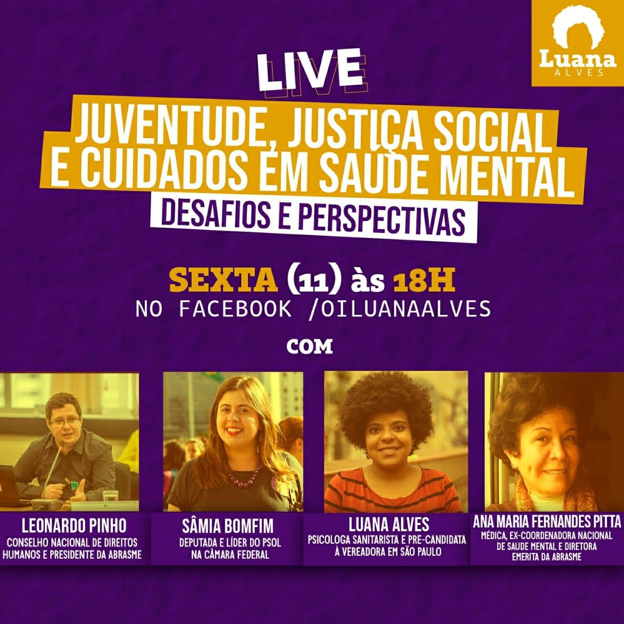 Diretoria da ABRASME participará de live Juventude, Justiça Social e Cuidados em Saúde Mental com Sâmia Bonfim e Luana Alves