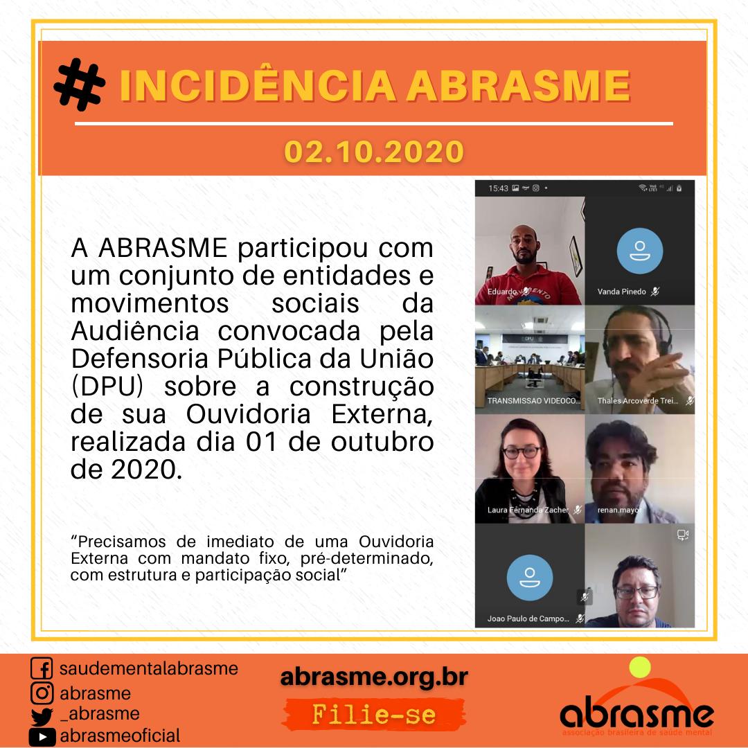 ABRASME participou de Audiência convocada pela Defensoria Pública da União